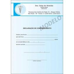 Declaração Médica de Comparecimento Colorida - Cod: M015 Azul