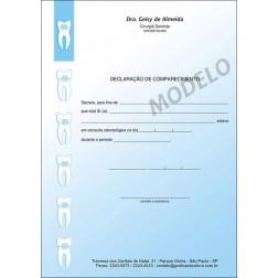 Declaração de Comparecimento Colorida para Dentistas - Cod: 004 Azul CB
