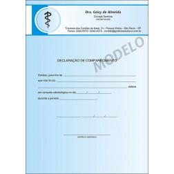 Declaração de Comparecimento Colorida para Dentistas - Cod: 015 Azul