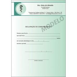 Declaração de Comparecimento Colorida para Dentistas - Cod: 015 Verde