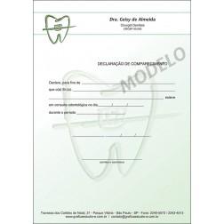 Declaração de Comparecimento Colorida para Dentistas - Cod: 021 Verde