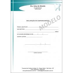 Declaração de Comparecimento Colorida para Dentistas - Cod: 028