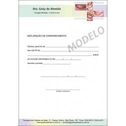 Declaração de Comparecimento Colorida para Dentistas - Cod: 036