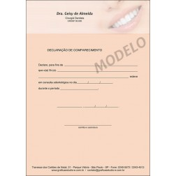 Declaração de Comparecimento Colorida para Dentistas - Cod: 056
