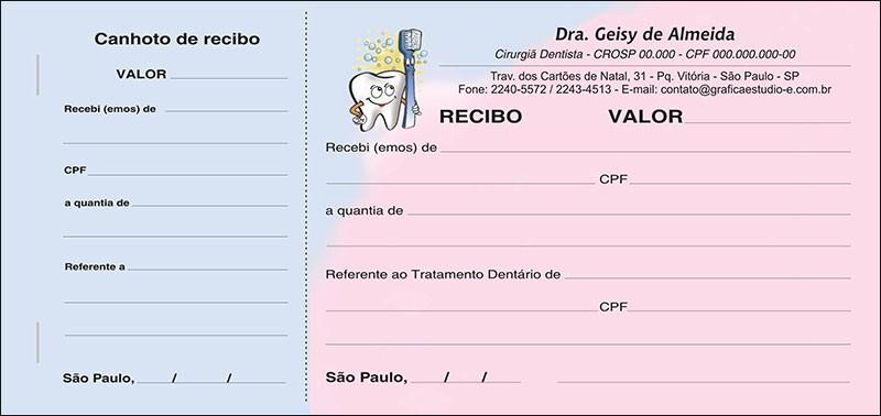 Recibo com Canhoto Colorido - Cod: 001