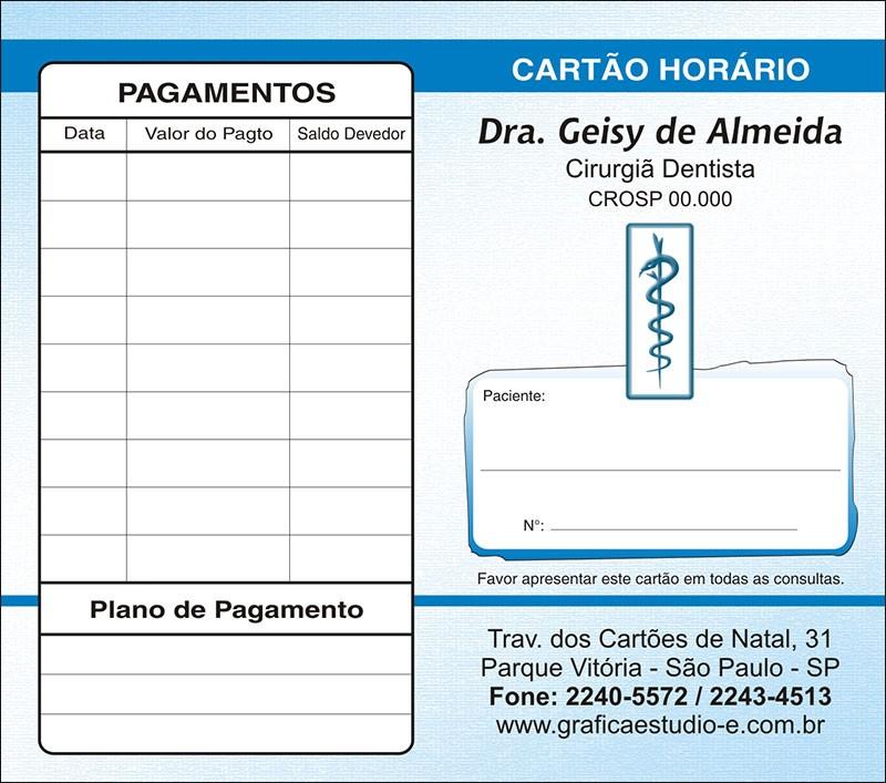 Carteirinha de Próxima Consulta e Pagamento Personalizado - Cod: 003