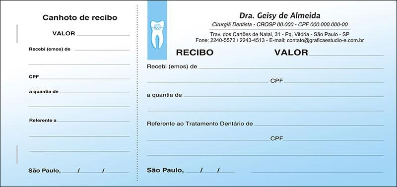 Recibo com Canhoto Colorido - Cod: 004 Azul CB