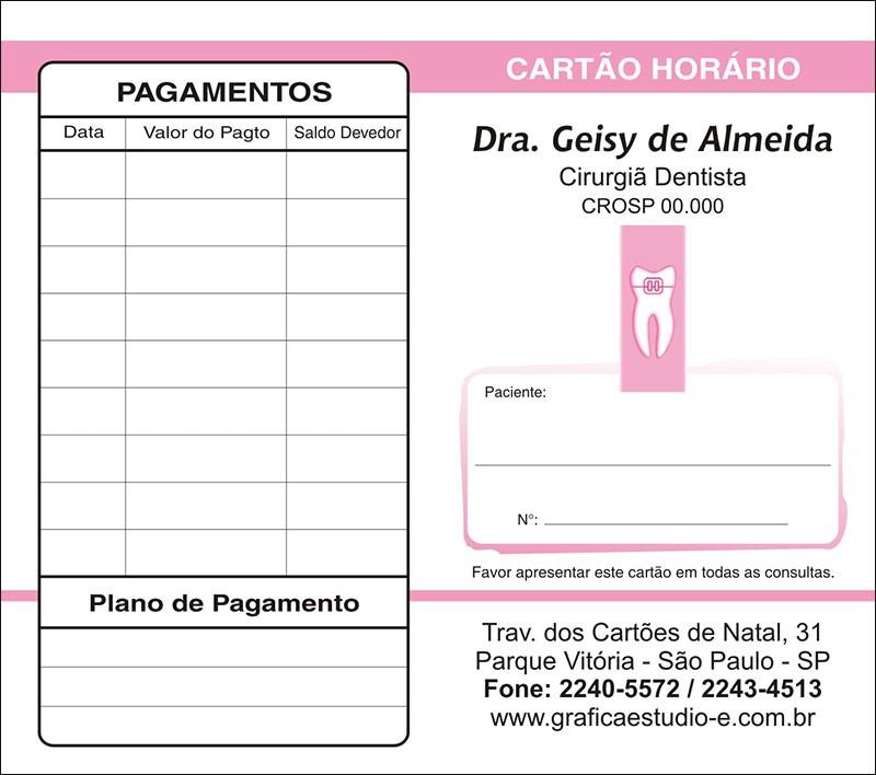 Carteirinha de Próxima Consulta e Pagamento Personalizado - Cod: 004 Rosa CB