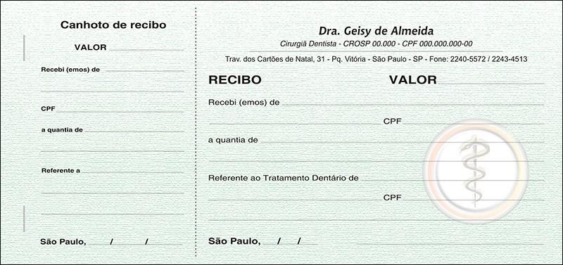 Recibo com Canhoto Colorido - Cod: 005