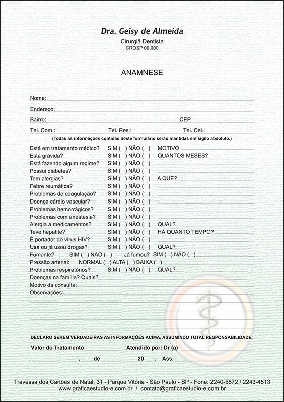 Anamnese Colorida - Cod: 005