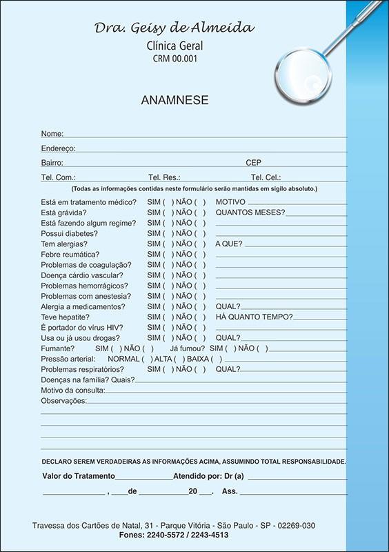 Anamnese Colorida - Cod: 006