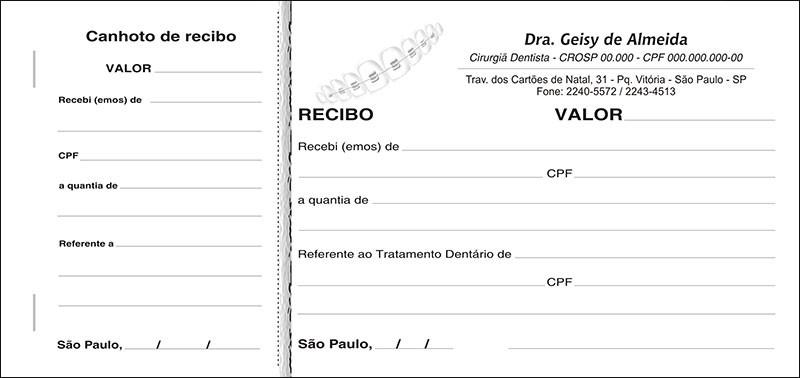 Recibo com Canhoto Colorido - Cod: 008