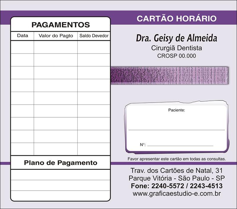 Carteirinha de Próxima Consulta e Pagamento Personalizado - Cod: 010