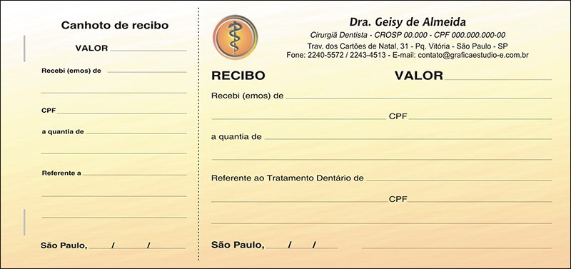 Recibo com Canhoto Colorido - Cod: 011