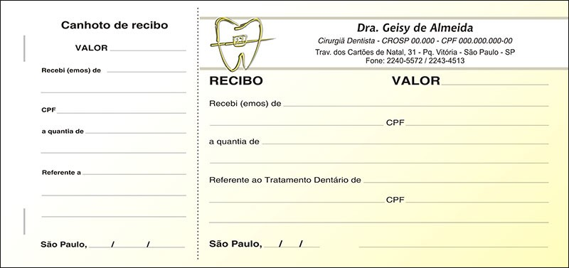 Recibo com Canhoto Colorido - Cod: 021 Amarelo