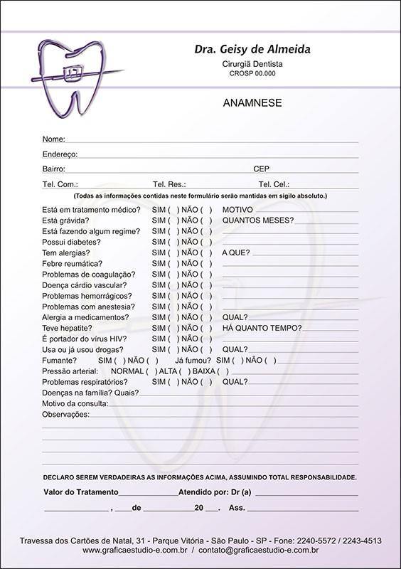Anamnese Colorida - Cod: 021 Lilás
