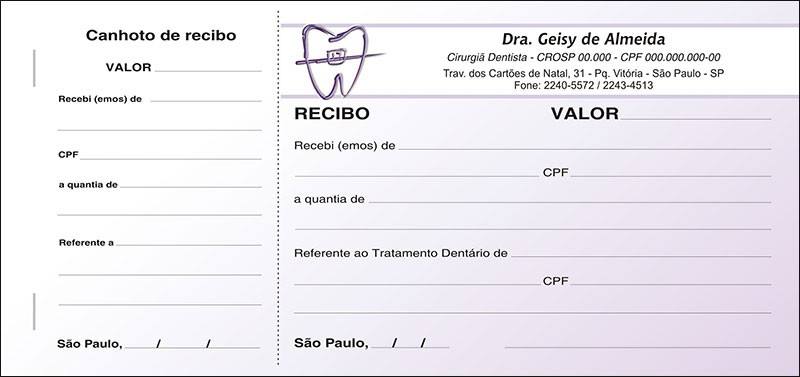 Recibo com Canhoto Colorido - Cod: 021 Lilás