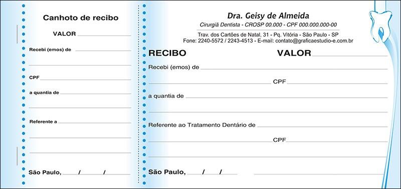 Recibo com Canhoto Colorido - Cod: 029