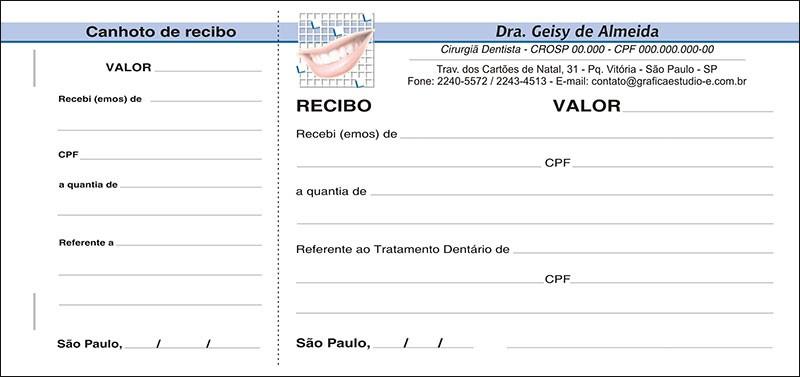 Recibo com Canhoto Colorido - Cod: 033