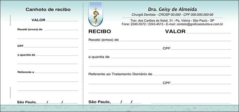 Recibo com Canhoto Colorido - Cod: 035