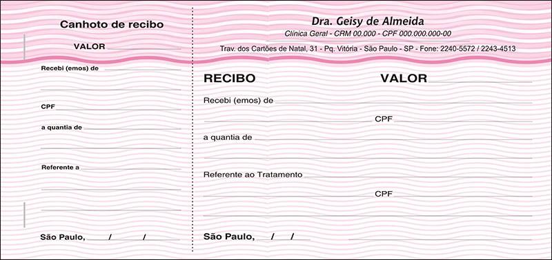 Recibo Médico com Canhoto Colorido - Cod: M042