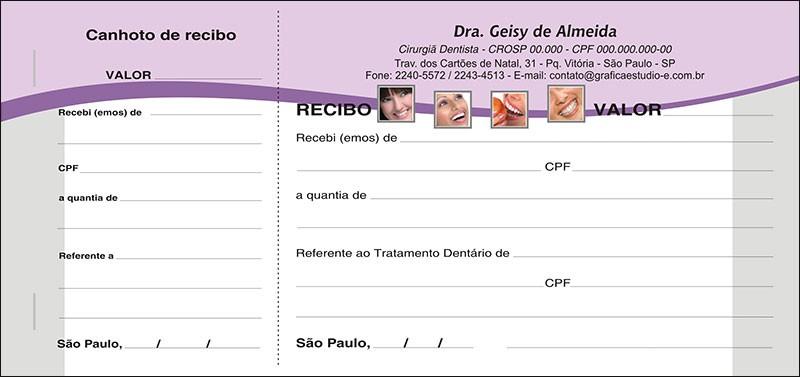Recibo com Canhoto Colorido - Cod: 054