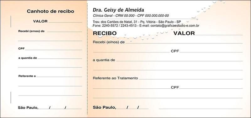 Recibo Médico com Canhoto Colorido - Cod: M061