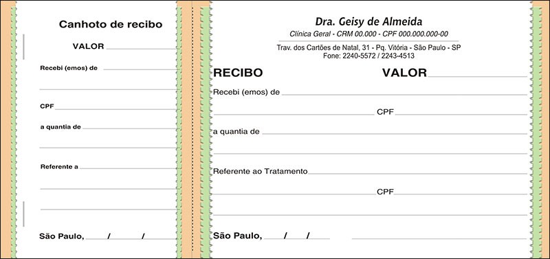 Recibo Médico com Canhoto Colorido - Cod: M064