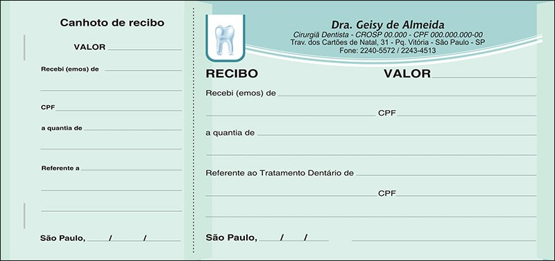 Recibo com Canhoto Colorido - Cod: 065
