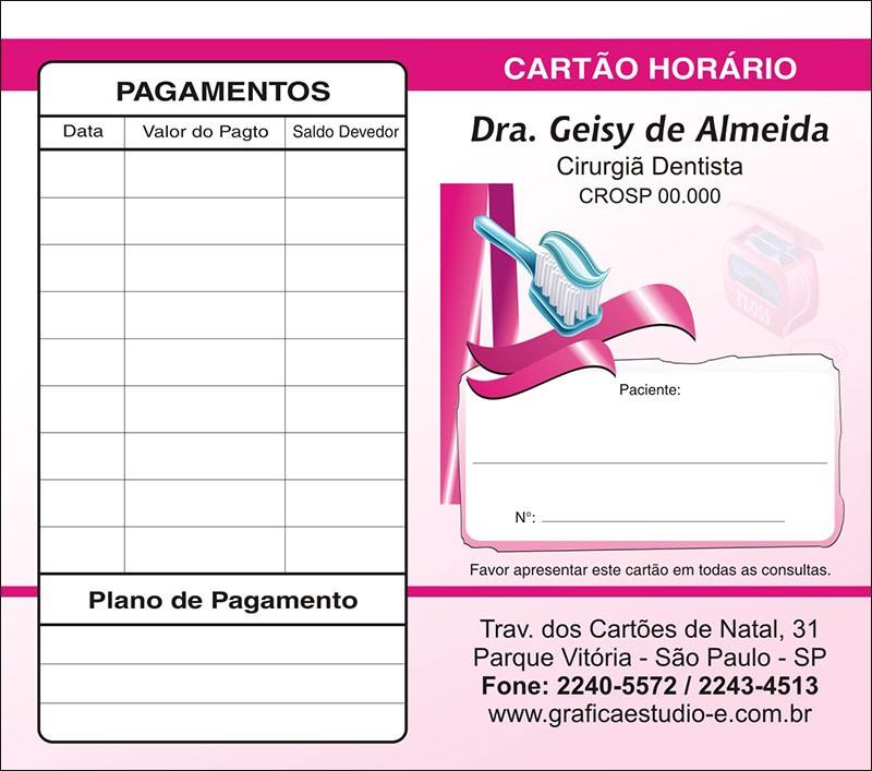 Carteirinha de Próxima Consulta e Pagamento Personalizado - Cod: 067