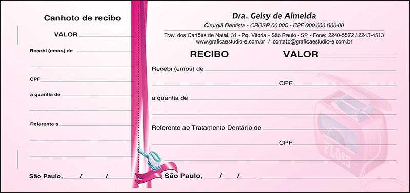 Recibo com Canhoto Colorido - Cod: 067