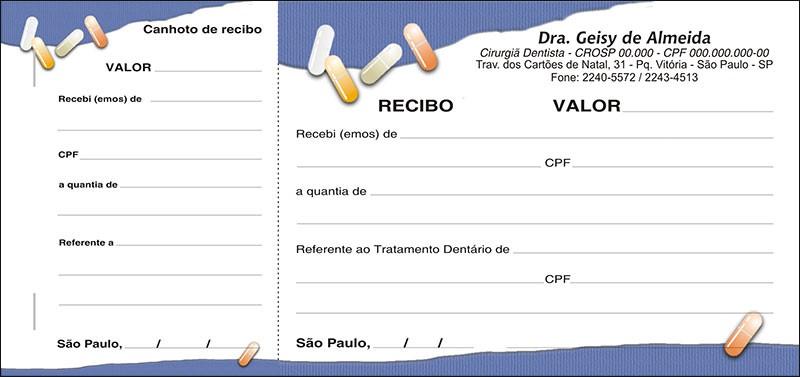 Recibo com Canhoto Colorido - Cod: 105