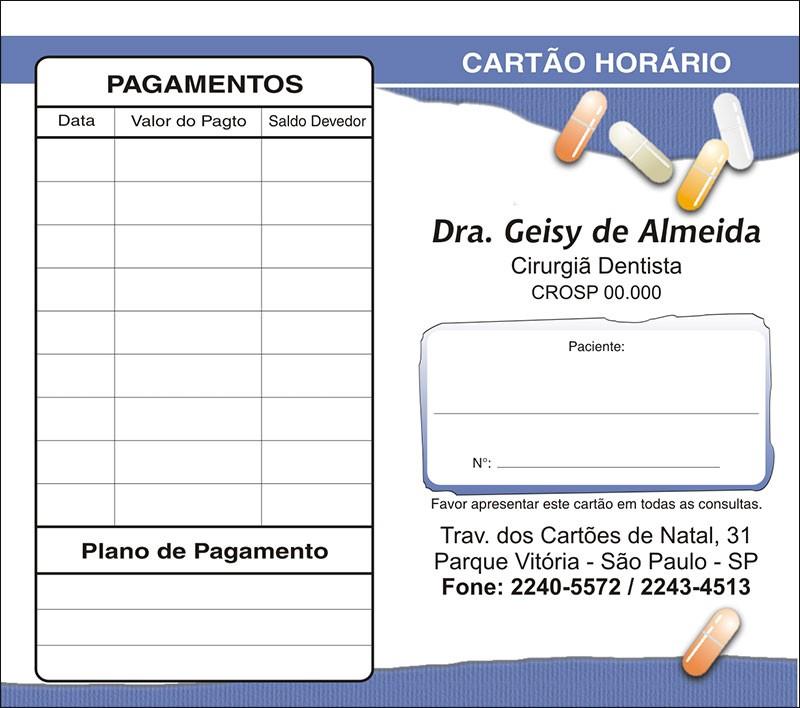 Carteirinha de Próxima Consulta e Pagamento Personalizado - Cod: 105