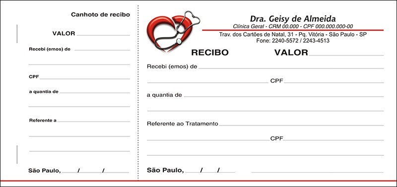 Recibo Médico com Canhoto Colorido - Cod: M108