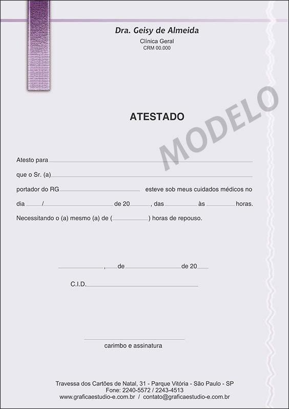 Atestado Médico Colorido - Cod: M010