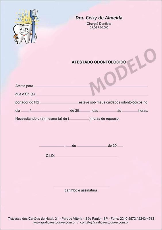 Atestado Odontológico Colorido - Cod: 001