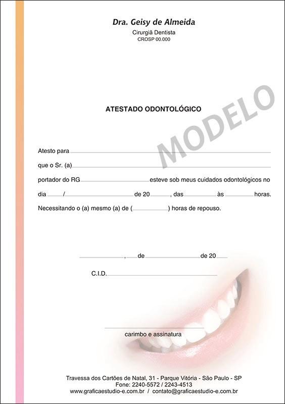 Atestado Odontológico Colorido - Cod: 002