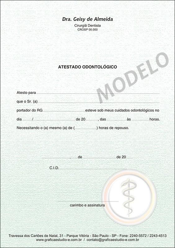 Atestado Odontológico Colorido - Cod: 005