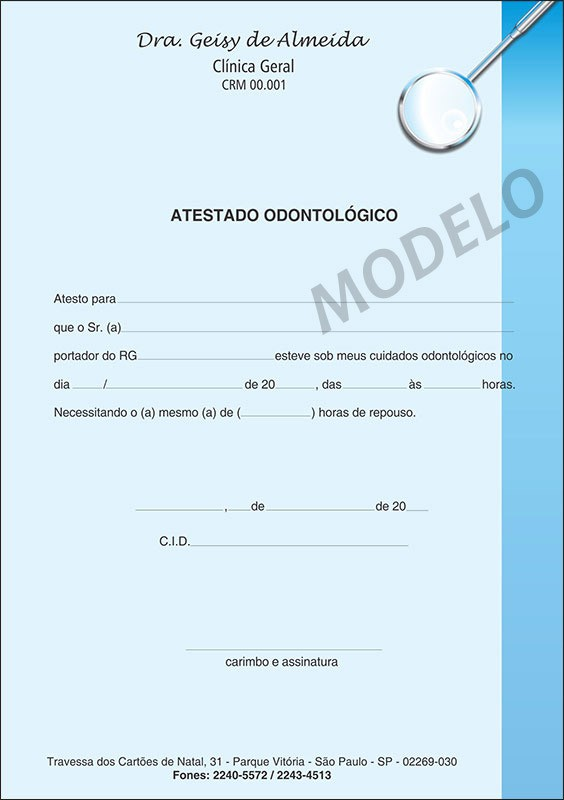 Atestado Odontológico Colorido - Cod: 006