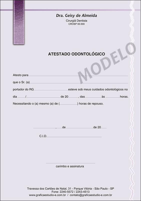 Atestado Odontológico Colorido - Cod: 010