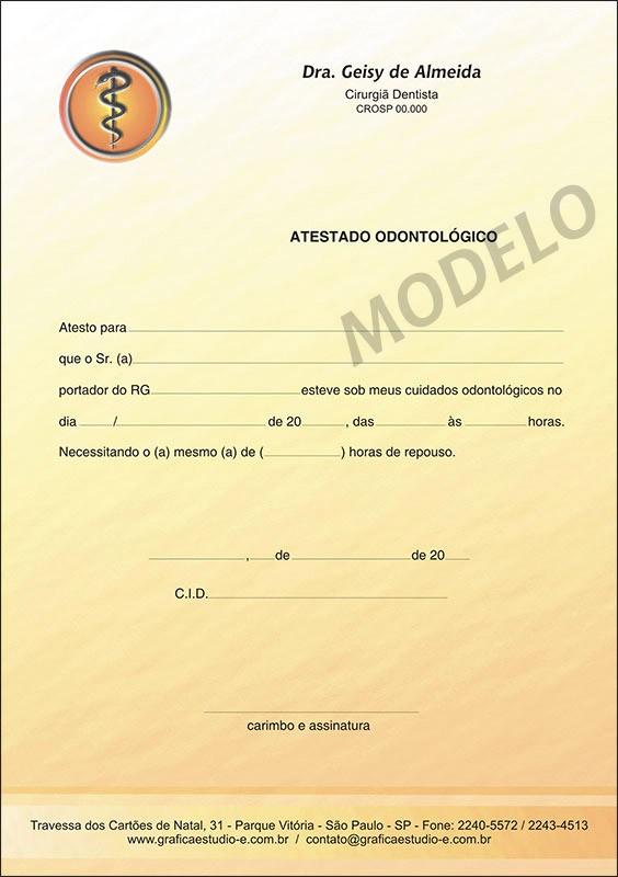 Atestado Odontológico Colorido - Cod: 011