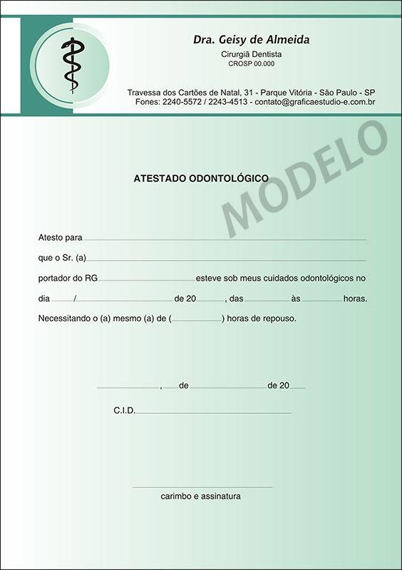 Atestado Odontológico Colorido - Cod: 015 Verde