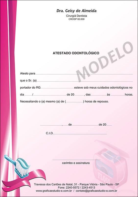 Atestado Odontológico Colorido - Cod: 067