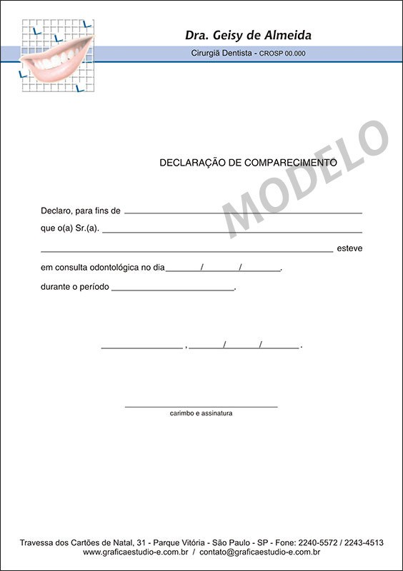 Declaração de Comparecimento Colorida para Dentistas - Cod: 033