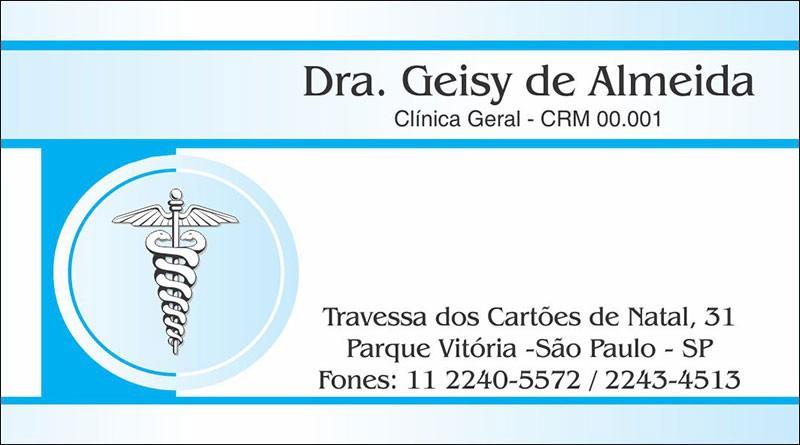 Cartão de Visita Médico com Verniz - Cod: M015 Azul