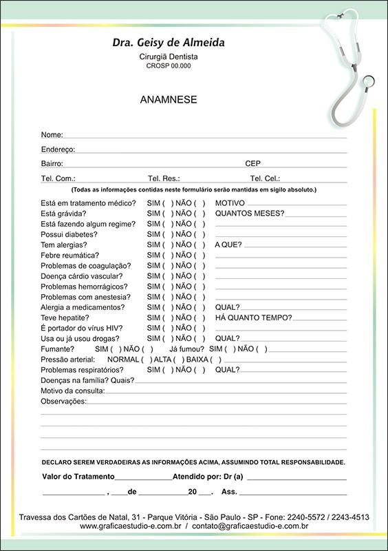 Anamnese Colorida - Cod: 102