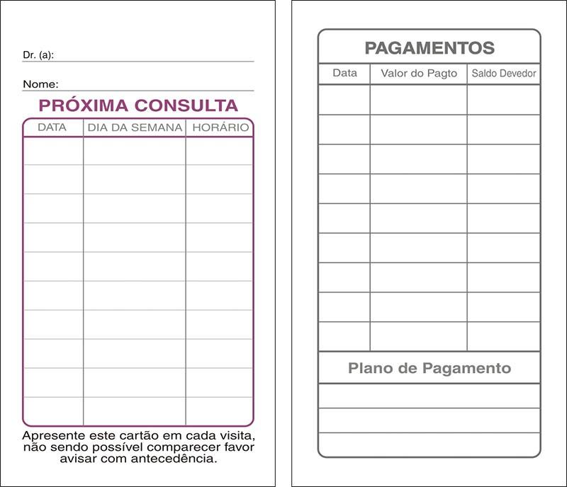 Cartões de Próxima Consulta e Pagamento Branco