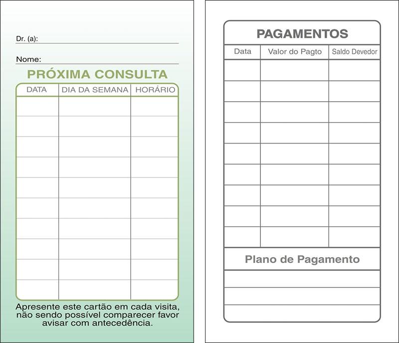 Cartões de Próxima Consulta e Pagamento Verde