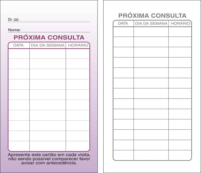 Cartões de Próxima Consulta Lilás