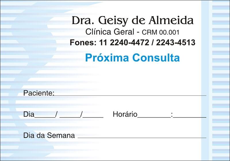 Blocos de Próxima Consulta para Médicos - Cod: M018